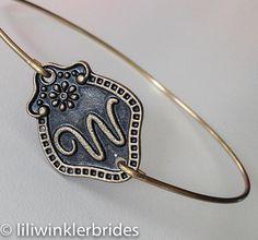 Initial W Bangle Bracelet  Stackable Bangle by Liliwinklerbrides2, $12.99