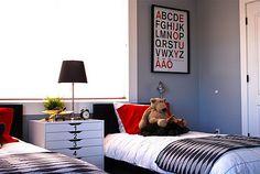 Foil paint color (Dunn Edward) gray blue-boys room. Alpabet print, colors, Ikea stuff.