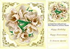 Beautiful cream Flowers in a Quadrefoil frame , by Ceredwyn Macrae A lovely card to make and give to anyone beautiful cream flowers on a quadrefoil frame ,has three greeting tags and a blank one ,