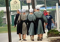 Amish girls walking in the city