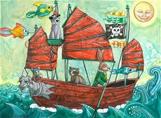 Pirate Ship painting for boys room or nursery by TheElfinForest, $10.00