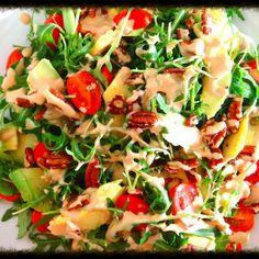 Simple & Simply Divine Avocado Salad with Pecans & Tahini Recipe on Marmite Recipes, Raw Food Recipes, Vegan Food, Ripe Avocado, Avocado Salad, Tomato Vegetable, Vegetable Pizza, Tahini Recipe, Fried Vegetables
