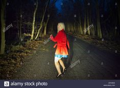 Woman Running In Fear In Woods At Night Stock Photo, Royalty Free Image: 48599740 - Alamy