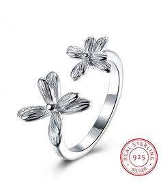 Ouruora 925 Sterling Silver Flower Open Ring