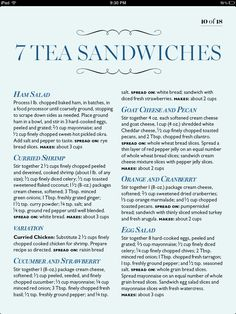 7 Tea Sandwiches (bad link but everything is in the pin) Afternoon Tea Parties, Thinking Day, Christmas Tea, My Tea, Tea Recipes, Just In Case, Tea Pots, Sandwich Ideas, Sandwich Recipes