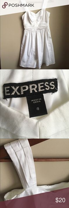 Express White Size 8 Dress Express Size 8 white Dress, pretty, fits more like a 6, new condition, never worn Express Dresses Mini