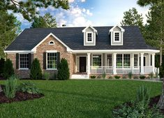 Brick Ranch House Plans House Plans Brick ranch house plans & backstein r Brick Ranch House Plans, Brick Ranch Houses, Cottage Style House Plans, House Plans One Story, Craftsman Style House Plans, Cottage Style Homes, Country House Plans, Small House Plans, Cottage House