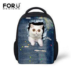 Funny 3D Denim Jeans Black Cat Children School Bags Kids Mochila Infantil Child Schoolbags for Girls Small School Bag Bookbags