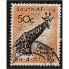 South Africa Scott 252 - SG196, 1961 Giraffe 50c used stamps sur le France de eBid