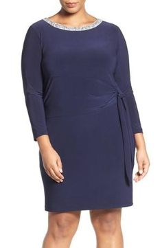 Encrusted with glittering crystals, the graceful bateau neckline illuminates your lovely face atop a lithe stretch-jersey cocktail dress swept to a waist-whittling tie at one side. Color(s): navy. Brand: MARINA. Style Name: Marina Embellished Neck $139.00 by nordstrom