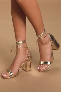 Comfort and style can be yours with the Lulus Kaira Gold Lace-Up Heels! Metallic gold vegan leather shapes these single-sole heels with a slender toe strap, heel cup, and long laces that wrap and tie around the ankle. Gold Lace Up Heels, Silver Dress Shoes, Gold Ankle Strap Heels, Metallic Gold Heels, Gold Shoes, Leather Heels, Gold High Heels, Gold Sandal Heels, Gold Prom Heels