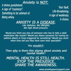 So true!  Why is there still a stigma about mental illness!  We are judged by our disorder and it's wrong!