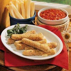 Mozzarella Sticks  Double crumbed and cold before baking - I will try spraying with a EVOO from a Misto rather than drizzle with butter