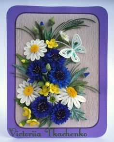 Quilled greeting Card - Anniversary quilling Card - Love quilling card - Birthday card - Exquisite bouquet with cornflowers and daisies