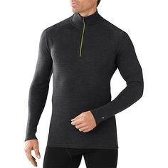 Smartwool Men's Base Layer Top - Merino 250 Wool Active Zip Outerwear Wool Fabric, Merino Wool, Charcoal, Layers, Pullover, How To Wear, Clothes, Shopping, Tops