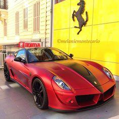 Satin Red Mansory Ferrari 599  Follow @ToysForBoysMiami @ToysForBoysMiamiFor The More Exotics Cars & Items  pic by @melaniemontecarlo #CarsWithoutLimits #Ferrari #599