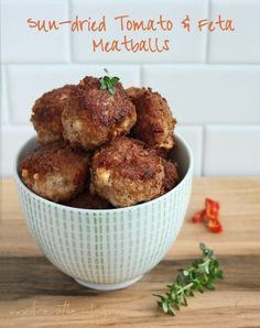 Low Carb and Gluten Free Sundried Tomato and Feta Meatballs - ibreatheimhungry.com.  Only .65g net carbs each!