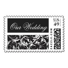 Black and White Damask Wedding Stamps. Make your own business card with this great design. All you need is to add your info to this template. Click the image to try it out!