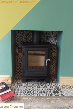 Most current Photos Fireplace Hearth decorations Tips Woodburning stove Clock Compact installed by Urban Flame Ltd with a mosaic tiled hearth. These tile Fireplace Hearth Tiles, Wood Burner Fireplace, Shiplap Fireplace, Fireplace Design, Craftsman Fireplace, Empty Fireplace Ideas, Log Burner Living Room, Small Sitting Rooms, Stove Installation