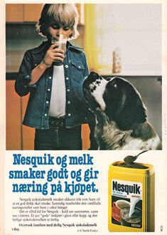Nesquick i reklame fra Nesquick, Facebook Sign Up, Vintage Ads, Barn, Memories, Happy, Movie Posters, Fictional Characters, Memoirs
