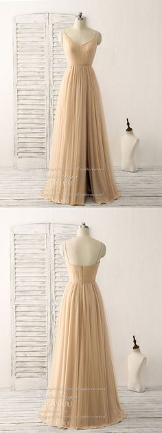 Simple v neck tulle chiffon long prom dress champagne bridesmaid dress, champagne evening dress