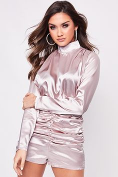 Like the Shorts aspect of this silky Playsuit. Satin Top, Pink Satin, Pink Outfits, Hot Outfits, Satin Jumpsuit, Satin Playsuit, Satin Bluse, High Neck Blouse, Beautiful Blouses