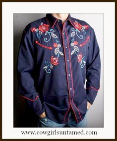 COWBOY STYLE SHIRT Mens Navy Blue Embroidered Floral Design Long Sleeve Western Shirt #scully #cowboyshirt