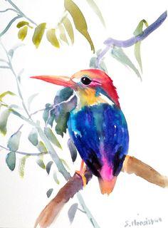 Oriental Kingfisher Original watercolor painting by ORIGINALONLY, $24.00