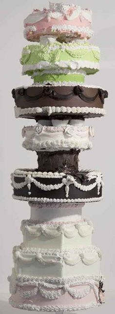 """Will Cotton """"Cake Tower"""" 2010  Materials: polystyrene, acrylic polymer, pigment, gypsum"""