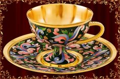 24K Gold Plated Sterling Silver Tea Set of Cup and Saucer Decorated with Filigree and Heat Fused Enamel in Faberge Style