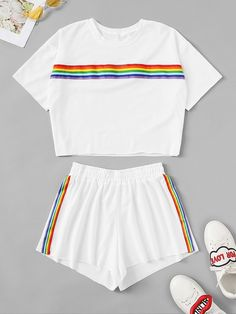 Store Rainbow Tape Panel High With Shorts on-line. - Store Rainbow Tape Panel High With Shorts on-line. Cute Lazy Outfits, Kids Outfits Girls, Teenage Outfits, Stylish Outfits, Cute Sleepwear, Pride Outfit, Vetement Fashion, Pajama Outfits, Teen Fashion Outfits