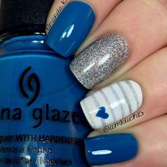 Blue Nails with Glitter and Striped Accent Nails