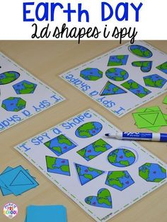 Earth Day shapes I spy game. Plus FREE Earth Day vocabulary posters! Perfect for preschool, pre-k, or kindergarten. day crafts for kids preschool recycled art Earth Day Preschool Activities, Preschool Themes, Preschool Crafts, Art Activities, Preschool Teachers, Preschool Curriculum, Therapy Activities, Family Activities, Homeschool