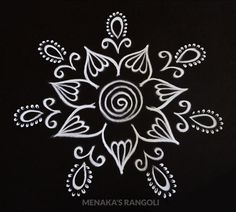 Easy And Simple Rangoli Design Free Hand Rangoli Design, Rangoli Border Designs, Colorful Rangoli Designs, Beautiful Rangoli Designs, Simple Flower Design, Simple Flowers, Flower Designs, Small Rangoli, Rangoli With Dots