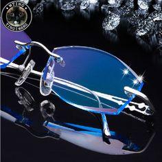 Donna degli uomini di modo strass occhiali occhiali senza montatura in titanio bordo tagliato eyewear di diamanti decorazioni prescrizione ottica