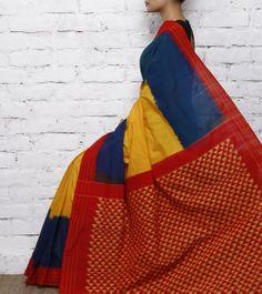 Yellow, Blue & Red Cotton Silk Ikat Saree