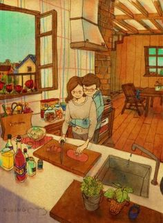 Korean artist Puuung portrays all those little moments of a couple in love.
