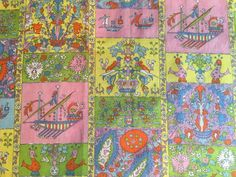 Vtg Swedish Scandinavian Tablecloth Linen 60s 70s Fabric Retro Birds Viking Boat  | eBay