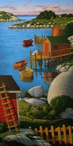 At the Coast (Paul Hannon) Pictures To Paint, Art Pictures, Henri Rousseau, Illustration Art, Illustrations, Naive Art, Canadian Artists, Cat Art, Contemporary Artists