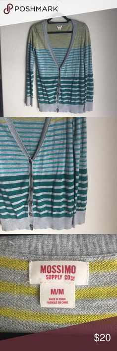 Hombre Cardigan Summer or fall colored cardigan. Lightweight sweater material. Mustard, turquoise and teal colors. Looks great with maxi's, jeans or shorts! Great condition. Mossimo Supply Co. Sweaters Cardigans