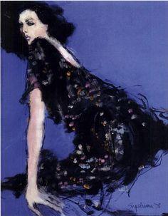 Fashion illustration by Steven Stipelman, 1978, 'The seduction of a black dress', Women's Wear Daily (WWD).