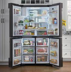 Samsung Fridge Organization - Interview Samsung's new fridge is a smart home hub waiting to happen Kitchen Appliance Storage, Kitchen Pantry Design, Home Decor Kitchen, Kitchen Interior, Home Kitchens, Kitchen Appliances, Refrigerator Organization, Kitchen Organization Pantry, Clothing Organization