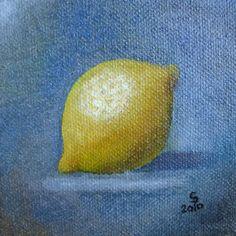 Zitrone 10 x 10.    Eines meiner ersten Ölgemälde nach Herdin.