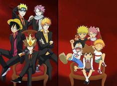 Haha, and Tsuna still gets to sit in the middle even though the other series are more popular. Well, he's the boss, after all! XD