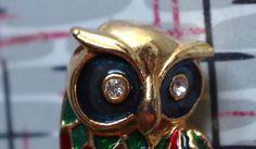 1970s vintage enamel and rhinestone owl brooch by retrowarehouse