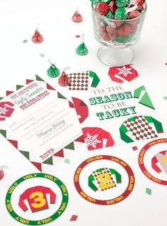 Ugly sweater Party Ideas! These free printable invitations and medals or buttons for an ugly sweater contest will make your ugly sweater party really stand out! #christmasparty #uglysweater #printable