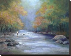 Autumn On The River Stretched Canvas Print by Greg Cartmell at AllPosters.com