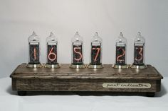 Nixie tube clock in oak and brass case by PastIndicator on Etsy
