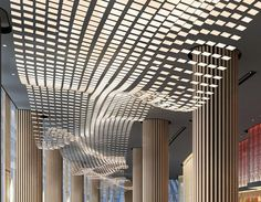 A river of light. Interior Ceiling Design, Lobby Interior, Interior Lighting, Interior Styling, Lighting Design, Interior And Exterior, Artistic Installation, Light Installation, Light Architecture