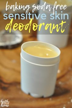 DIY Deodorant for Sensitive Skin in 5 Minutes! {NO Baking Soda} Whip up this DIY deodorant for sensitive skin with skin soothing shea butter and coconut oil, keeping odor & wetness away without irritating baking soda. Diy Deodorant, Baking Soda Deodorant, Deodorant Recipes, Baking Soda Shampoo, Baking Soda Uses, Diy Natural Deodorant, Coconut Oil Deodorant, Natural Soaps, Natural Shampoo